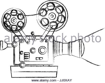 402x320 High Detailed Vintage Film Projector Cinema Icon Stock Vector Art