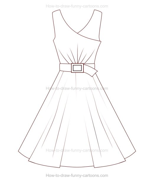 522x617 Astounding How To Draw Dresses Step By Step 46 In White Prom