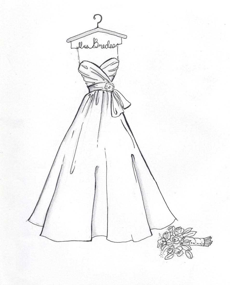 954x1185 Bridal Gown How Bridal Dress Drawing To Sketch A Wedding Step By