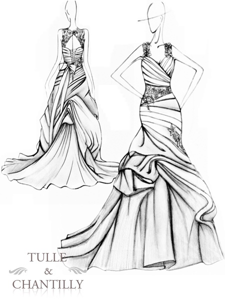 450x600 30 Best Tulle Amp Chantilly Fabulous Wedding Dress Sketches Images