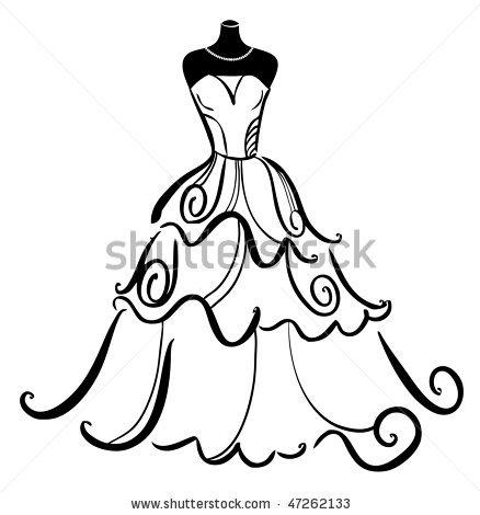 438x470 Vector Line Prom Dress Fashion Dresses