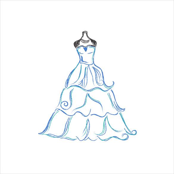585x585 Wedding Dress Patterns Free Eps, Ai, Illustration Format