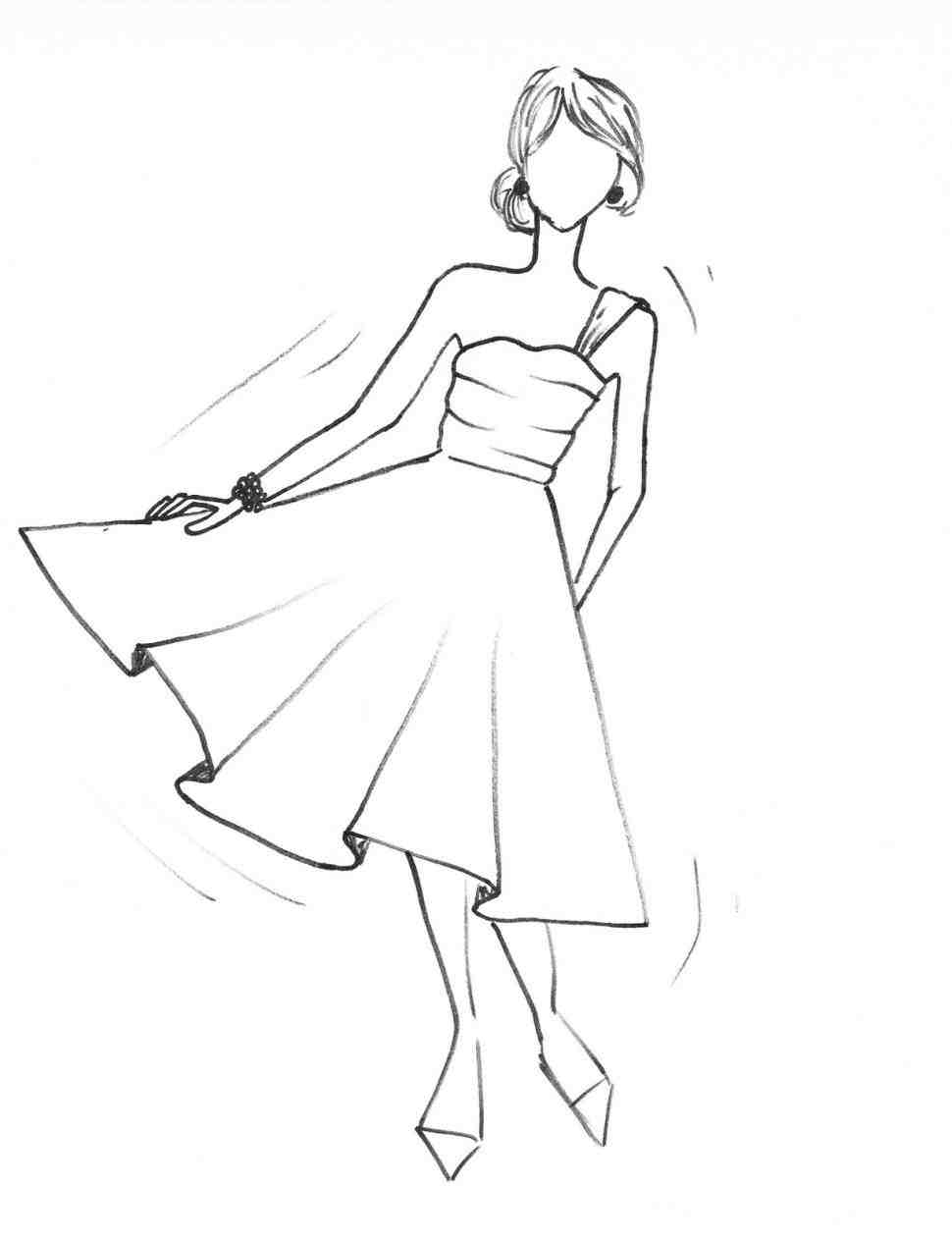 970x1264 How To Draw Simple Dresses Step By Step