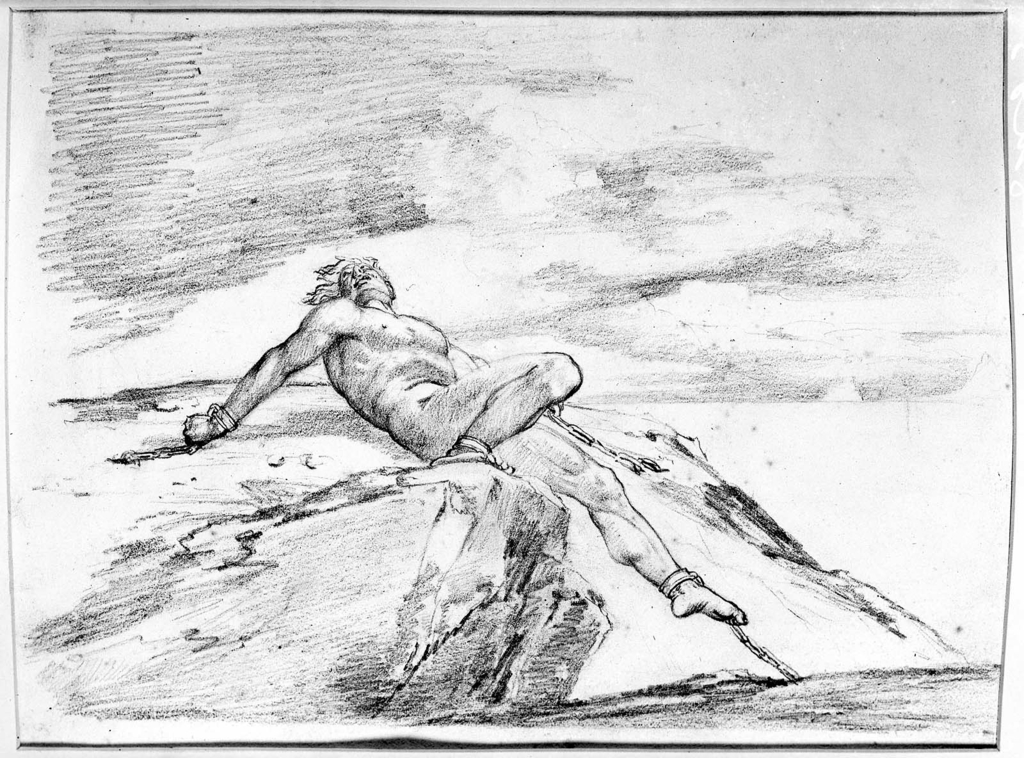 1024x758 Prometheus (Figure Of A Nude Man Chained On Top Of A Cliff