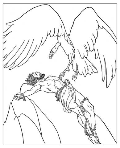 389x480 Prometheus Chained On Mt. Caucasus Coloring Page Free Printable