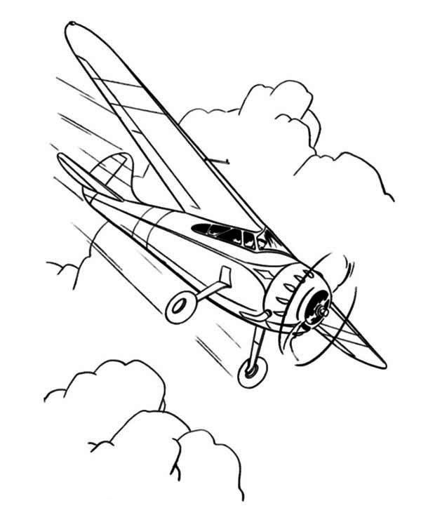 600x734 Single Engine Propeller Airplane Coloring Page