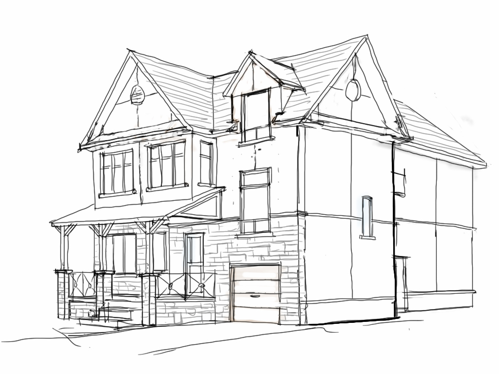 1024x768 2 Storey House Perspective Drawing Sketch Showing Second