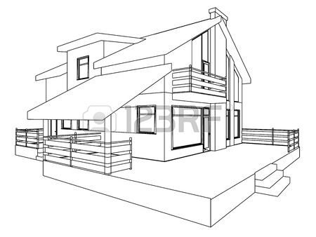 450x338 Building Perspective 3d. Drawing Of The Suburban House. House