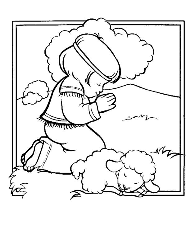 628x800 David And Lamb Coloring Sheet
