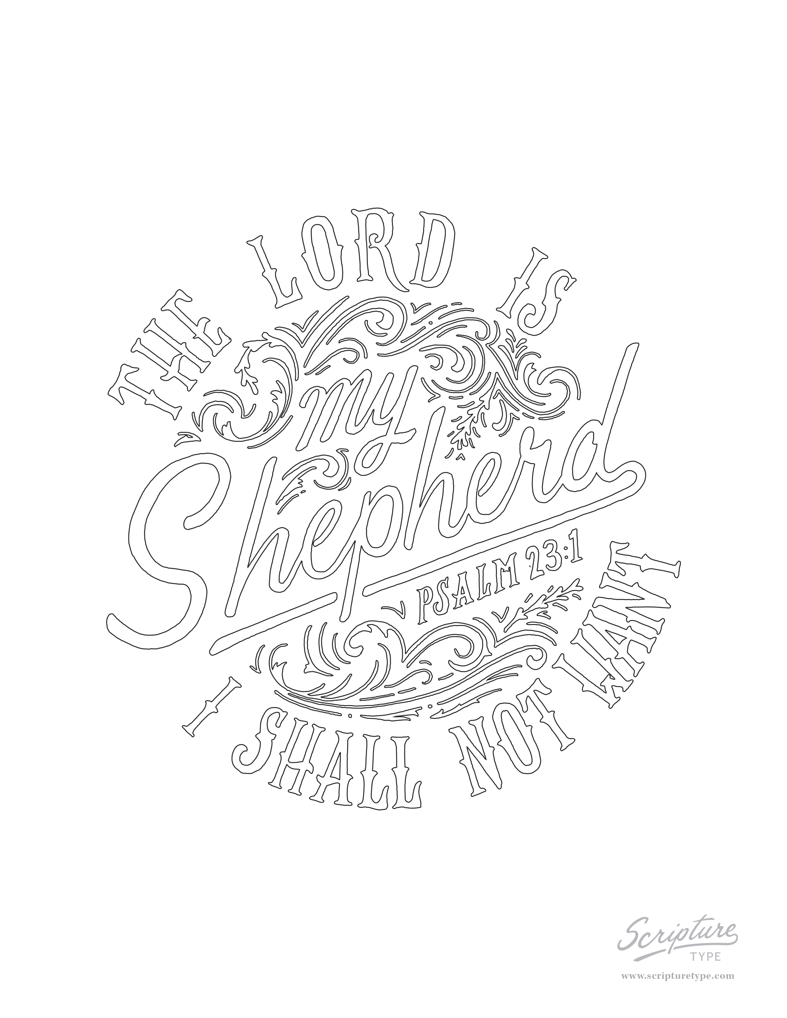 2550x3300 psalm 231 scripture type - Psalm 23 Coloring Page