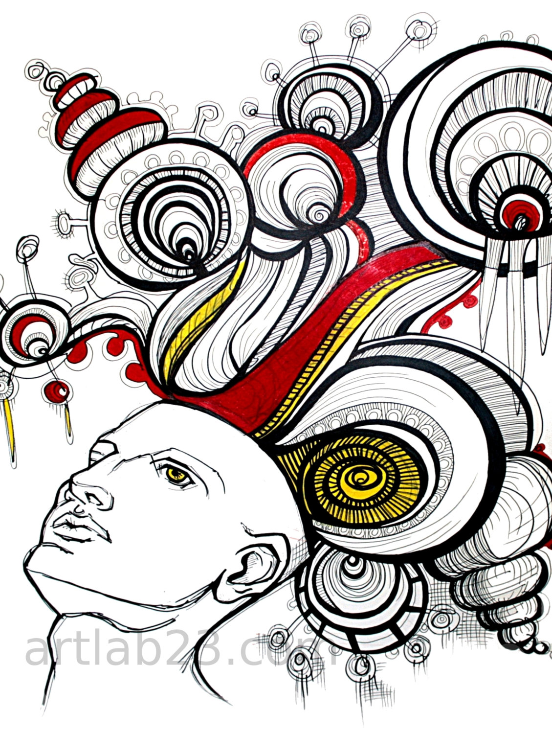1129x1500 Dreaming Man Art Print 8x10 Psychedelic Drawing Ink By Artlab23