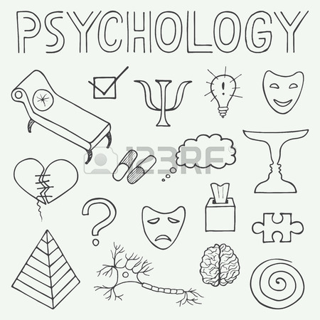 450x450 Psychology Hand Drawn Doodle Set And Typography In Vintage Style