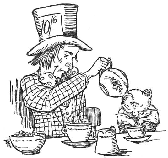 535x506 Public Domain Images 018 Mad Hatter In Checked Coat Pouring Tea