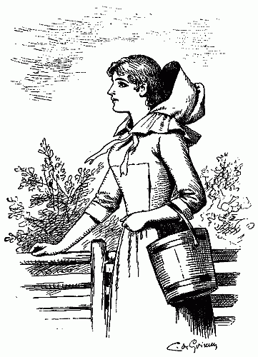 361x500 Public Domain Images Young Girl In Hood Holding Bucket Leans