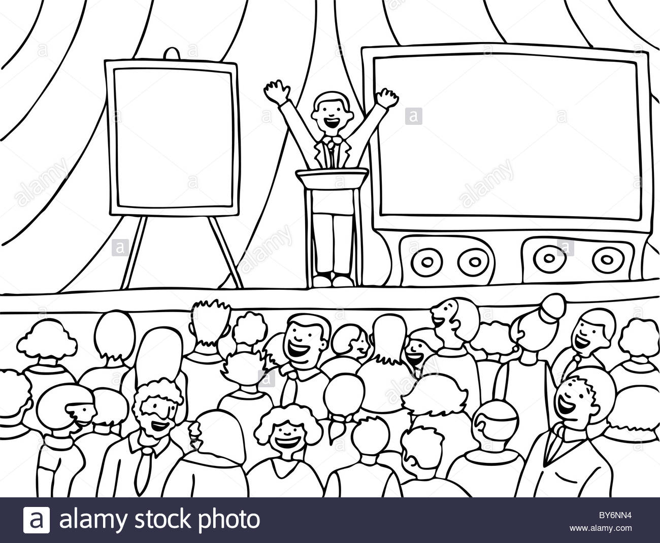 1300x1070 Public Speaker Presenting To A Large Group Of People On A Stage