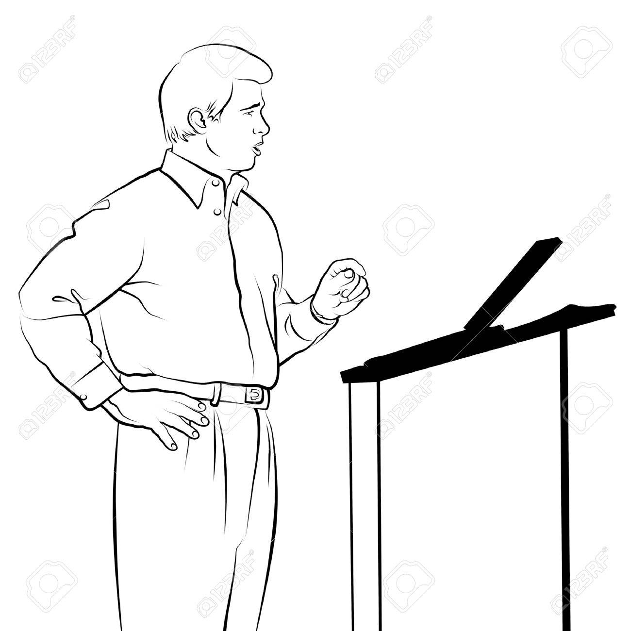 1300x1300 Line Drawing Of Speaker With Podium. Stock Photo, Picture