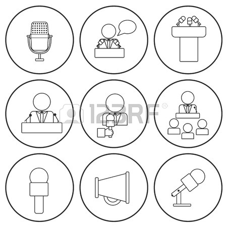 450x450 Set Of Isolated Thin Line Icons On Public Speaking Royalty Free