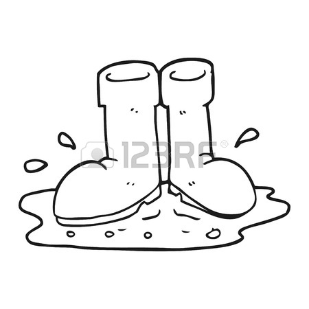 450x450 Freehand Drawn Black And White Cartoon Wellington Boots In Puddle