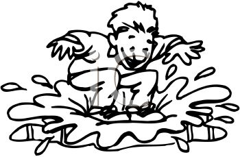 350x229 Black And White Cartoon Of A Kid Splashing In A Rain Puddle