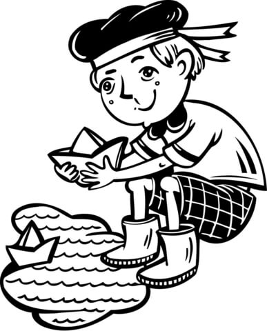 387x480 Boy Playing With Boats In A Puddle Coloring Page Free Printable