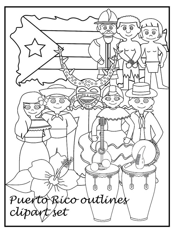 570x760 Puerto Rico Black And White Clipart Set