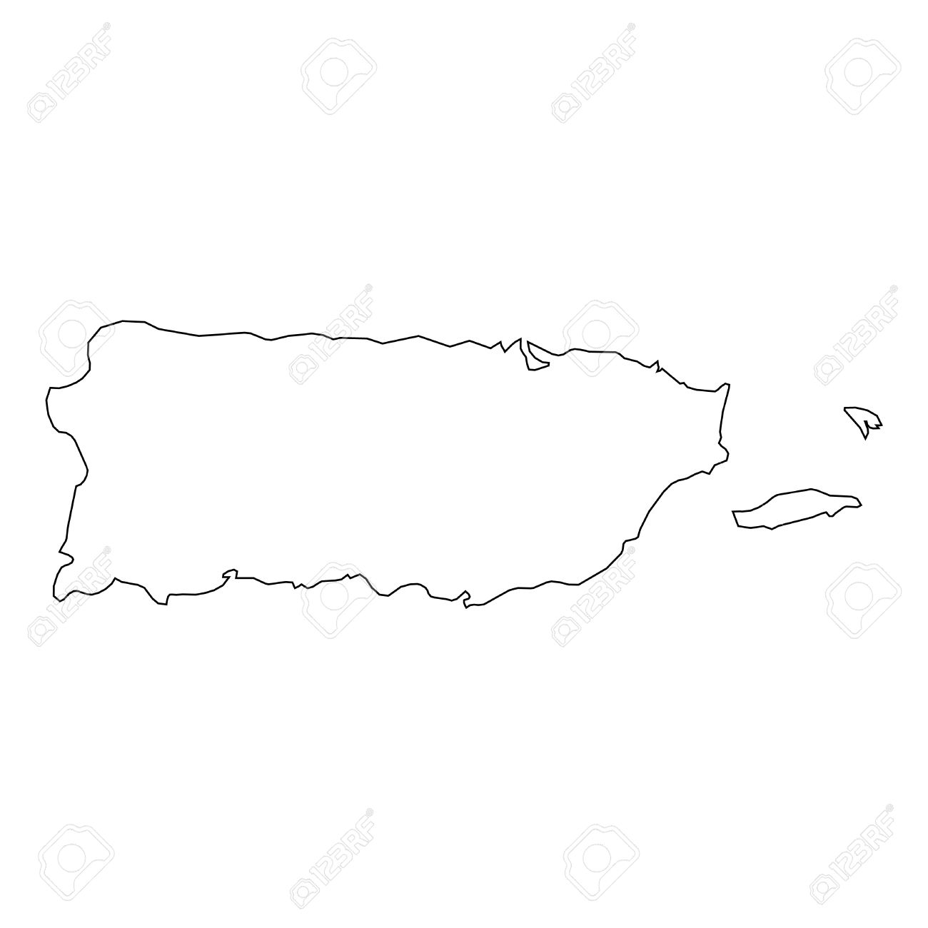 1300x1300 A High Detailed Outline Of The Country Of Puerto Rico Royalty Free
