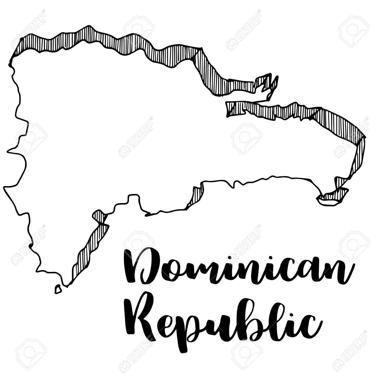 1300x1300 Hand Drawn Of Dominican Republic Map, Vector Illustration Royalty