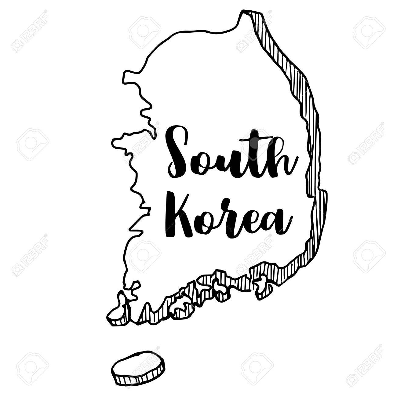 1300x1300 Hand Drawn Of South Korea Map, Vector Illustration Royalty Free