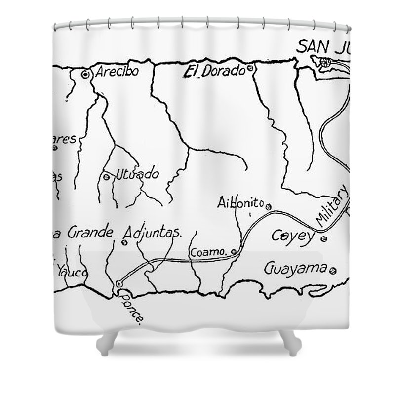 800x800 Map Of Puerto Rico, 1899 Shower Curtain For Sale By Granger