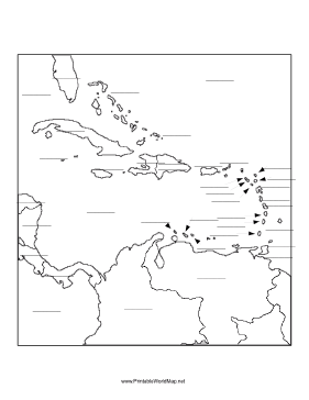 281x364 This Printable Map Of The Caribbean Sea Region Has Blank Lines