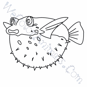 300x300 Puffer Fish Coloring Pages