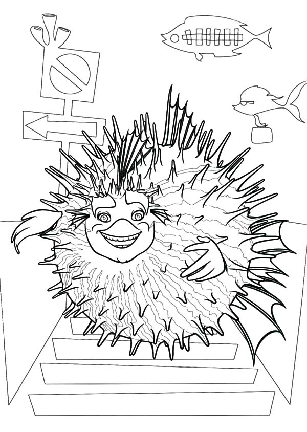 600x844 Sykes The Pufferfish From Shark Tale Coloring Pages Batch Coloring