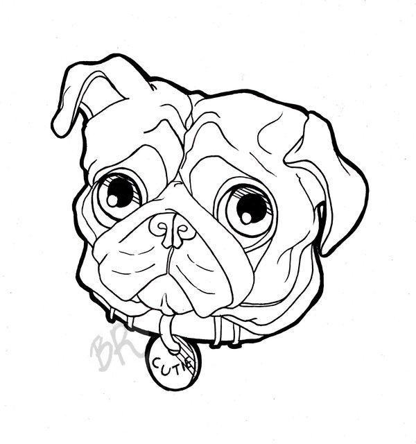 600x640 Black Pug Dog Face Tattoo Stencil By Tha Biatch