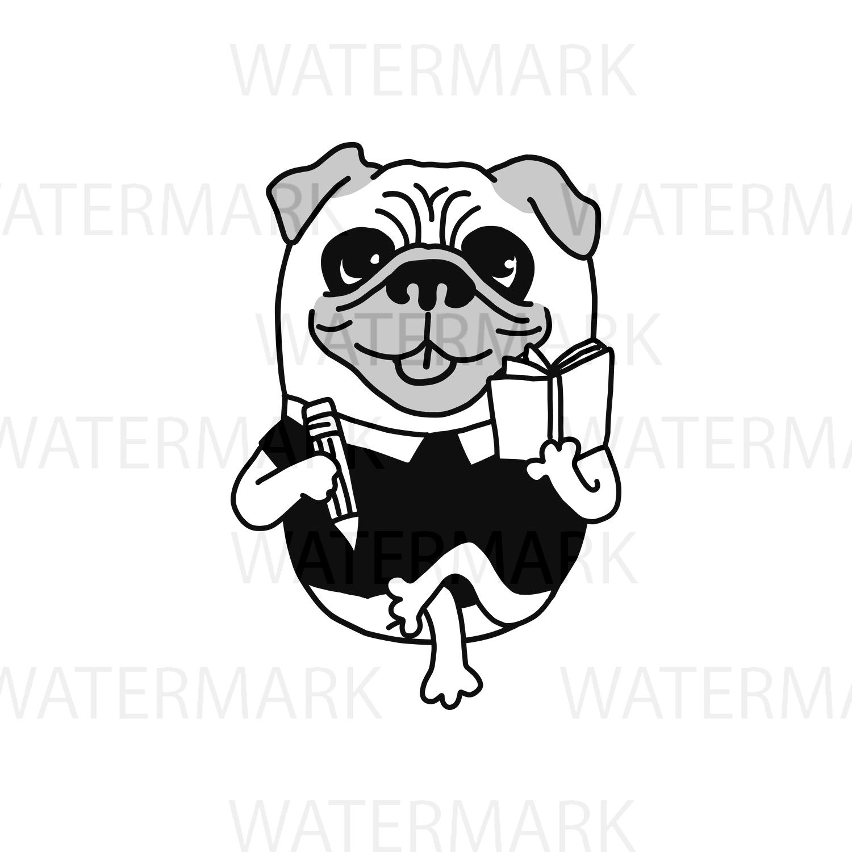 1500x1500 Pug Dog Writer Authoring A Book Very Cu Design Bundles