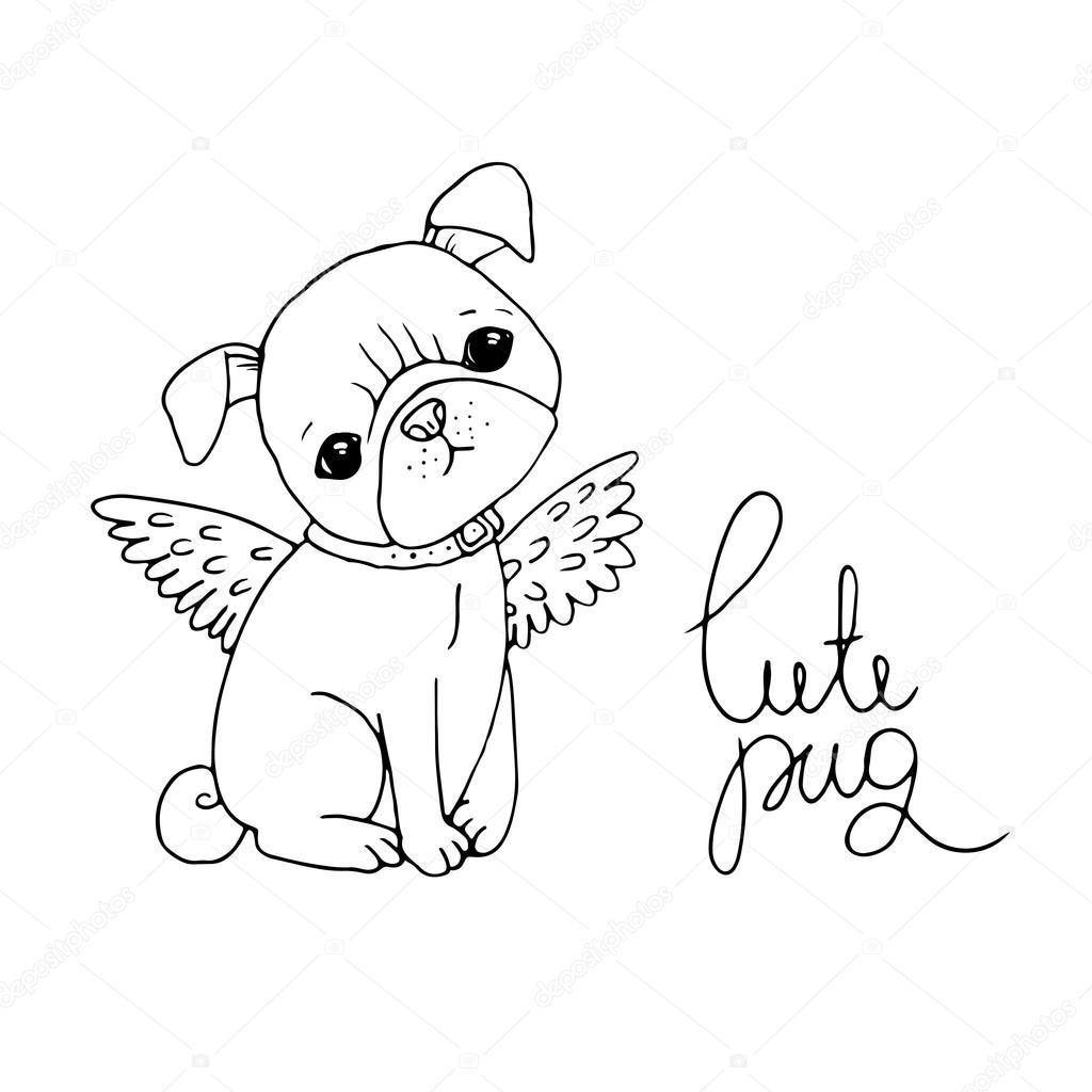1024x1024 Cute Pug. Dog. Stock Vector Natasha Chetkova