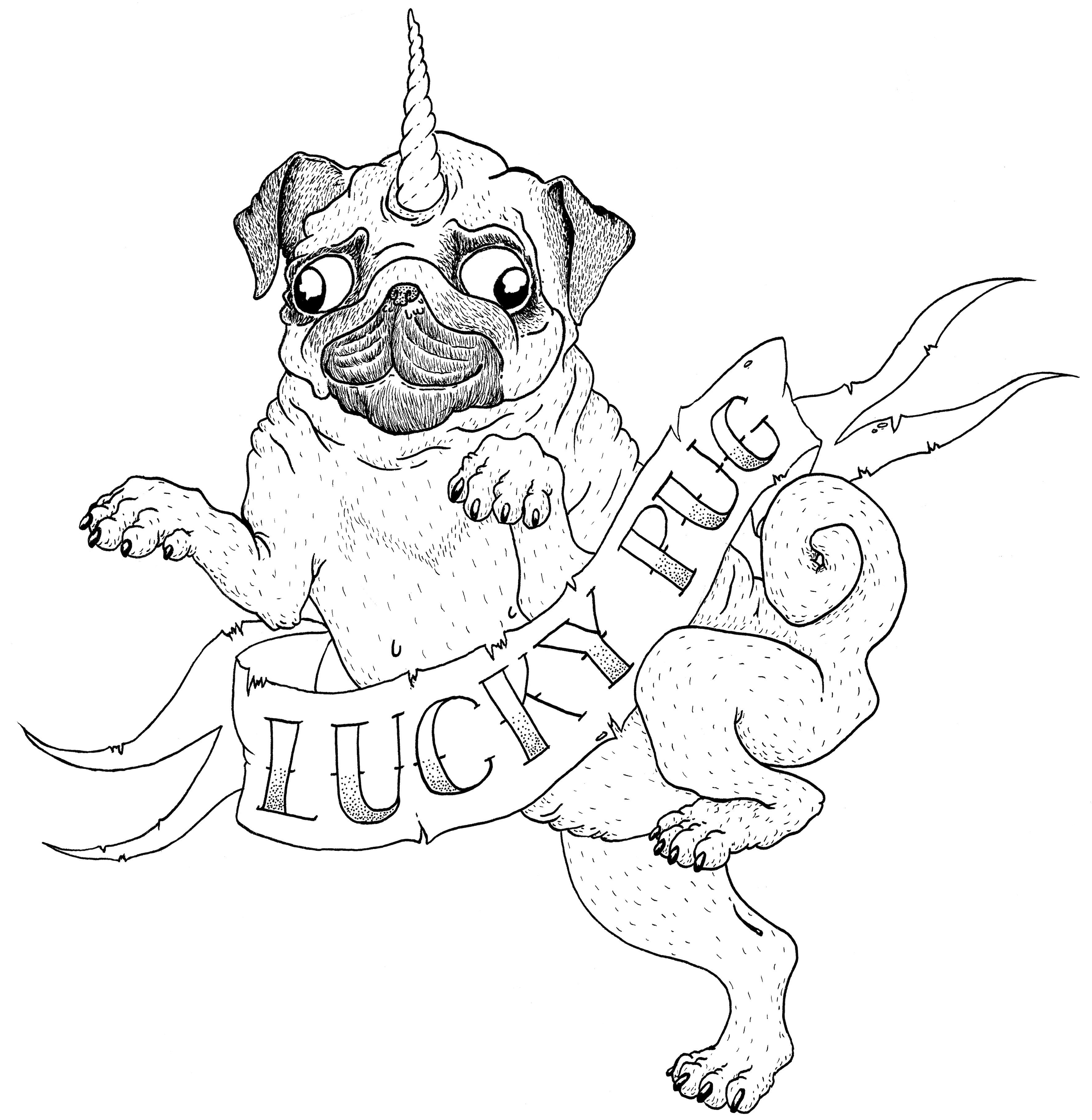 3543x3632 Lucky Pug (T Shirt Design) Ichi Nichi Drawings