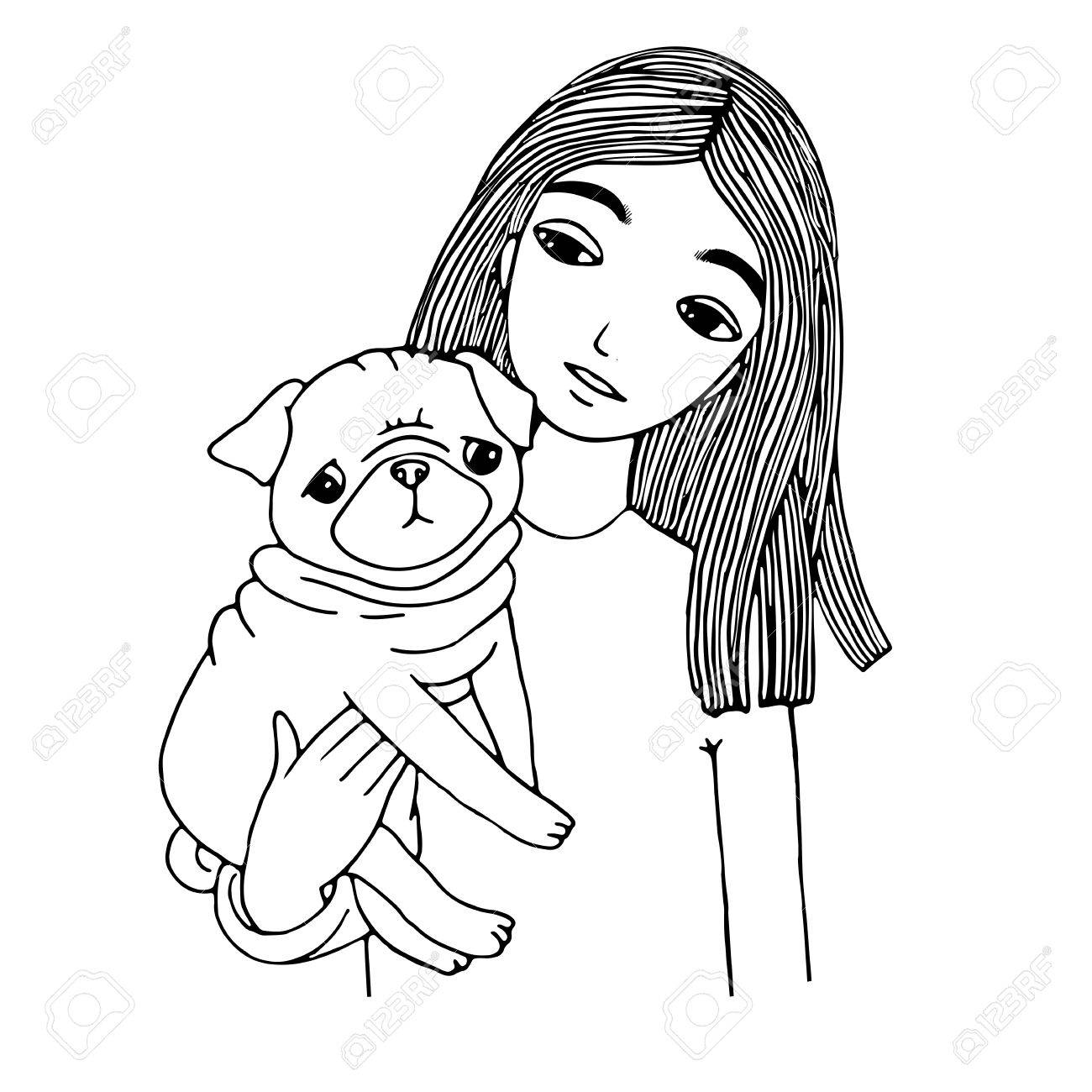 1300x1300 Beautiful Young Girl And A Cute Pug. Hand Drawing Isolated Objects