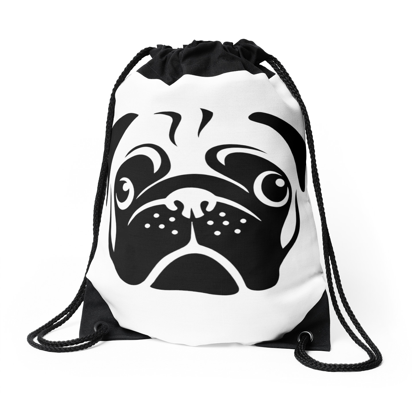 1435x1404 Cute Pug Face By Aireal Apparel Drawstring Bags By Airealapparel