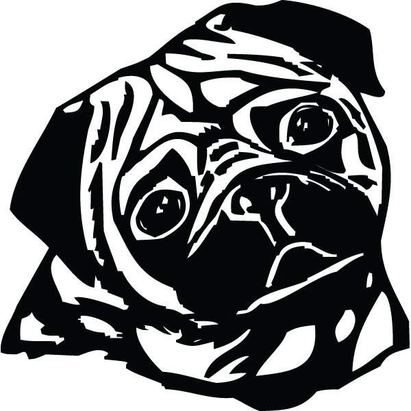 600x600 Pug Face Dog Breed Clip Art For Custom Gifts Amp Products