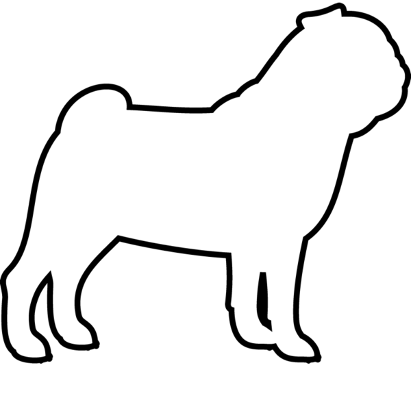 600x600 Pug Rubber Stamp (Outline) Dog, Cat Amp Fur Baby Stamps Stamptopia