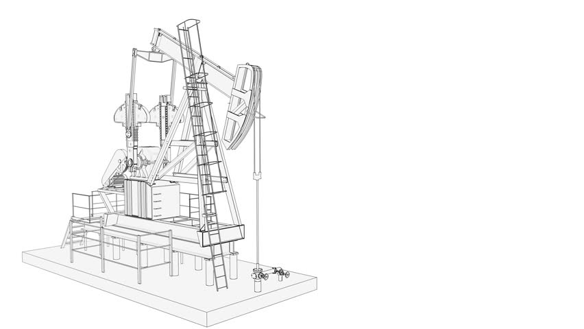 852x480 Oil Industry Pump Jack. Working Isolated On White Background