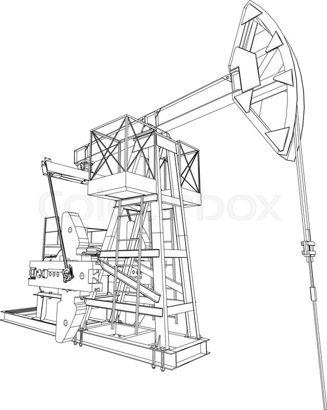 638x800 Oil Pump Jack. Detailed Vector Illustration Isolated On White