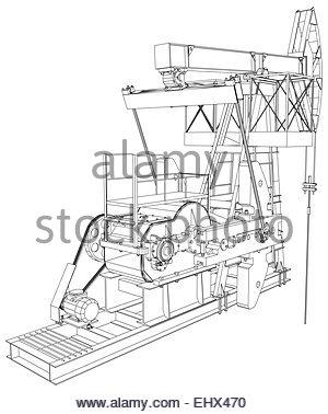 300x378 Oil Pump Jack. Vector Rendering Of 3d Stock Vector Art