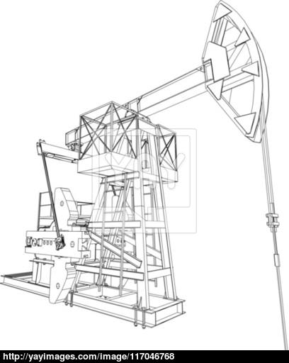 408x512 Oil Pump Jack. Vector Rendering Of 3d Vector