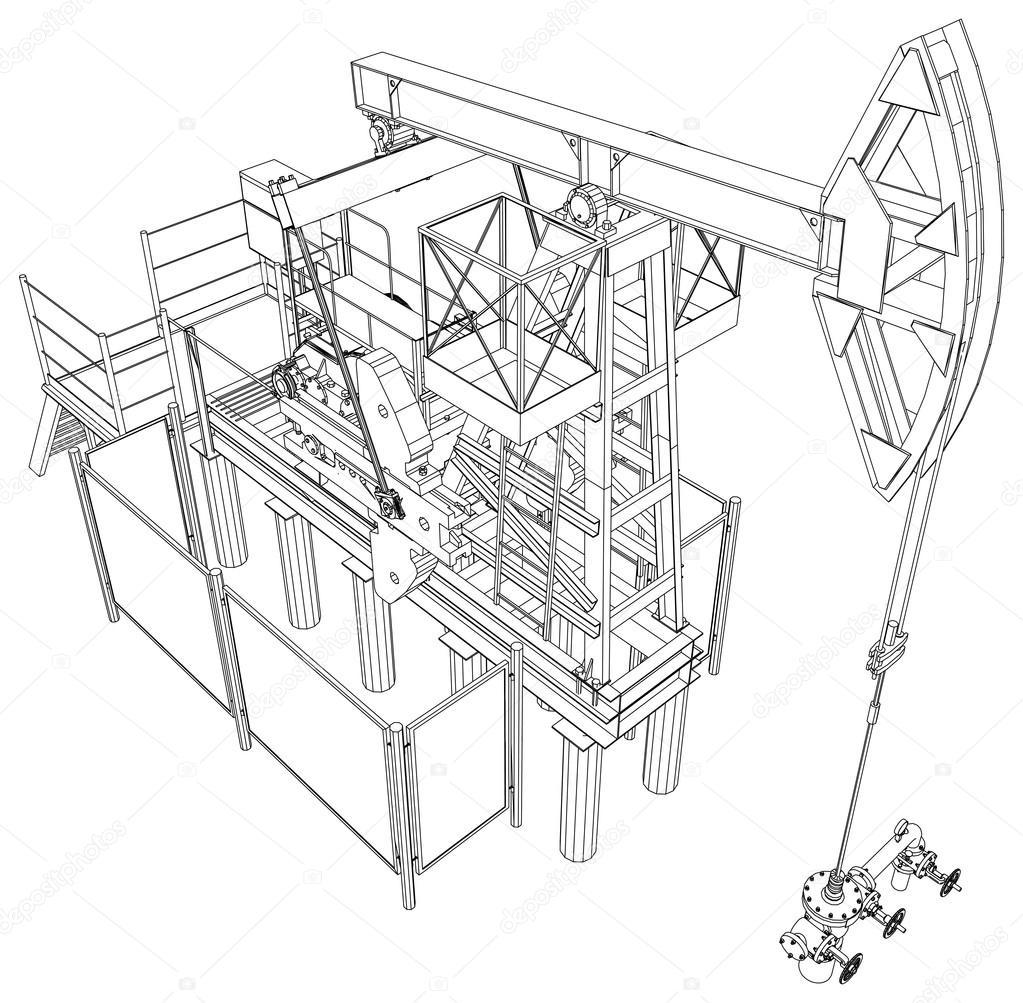 1023x1003 Oil Pump Jack. Vector Rendering Of 3d Stock Vector Cherezoff