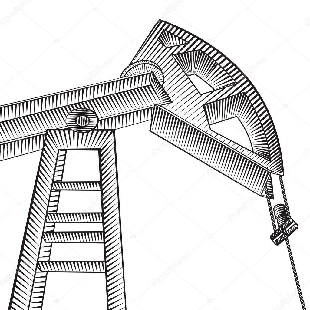 1024x1024 Oil Pump Jack. Stock Vector Kotkoa