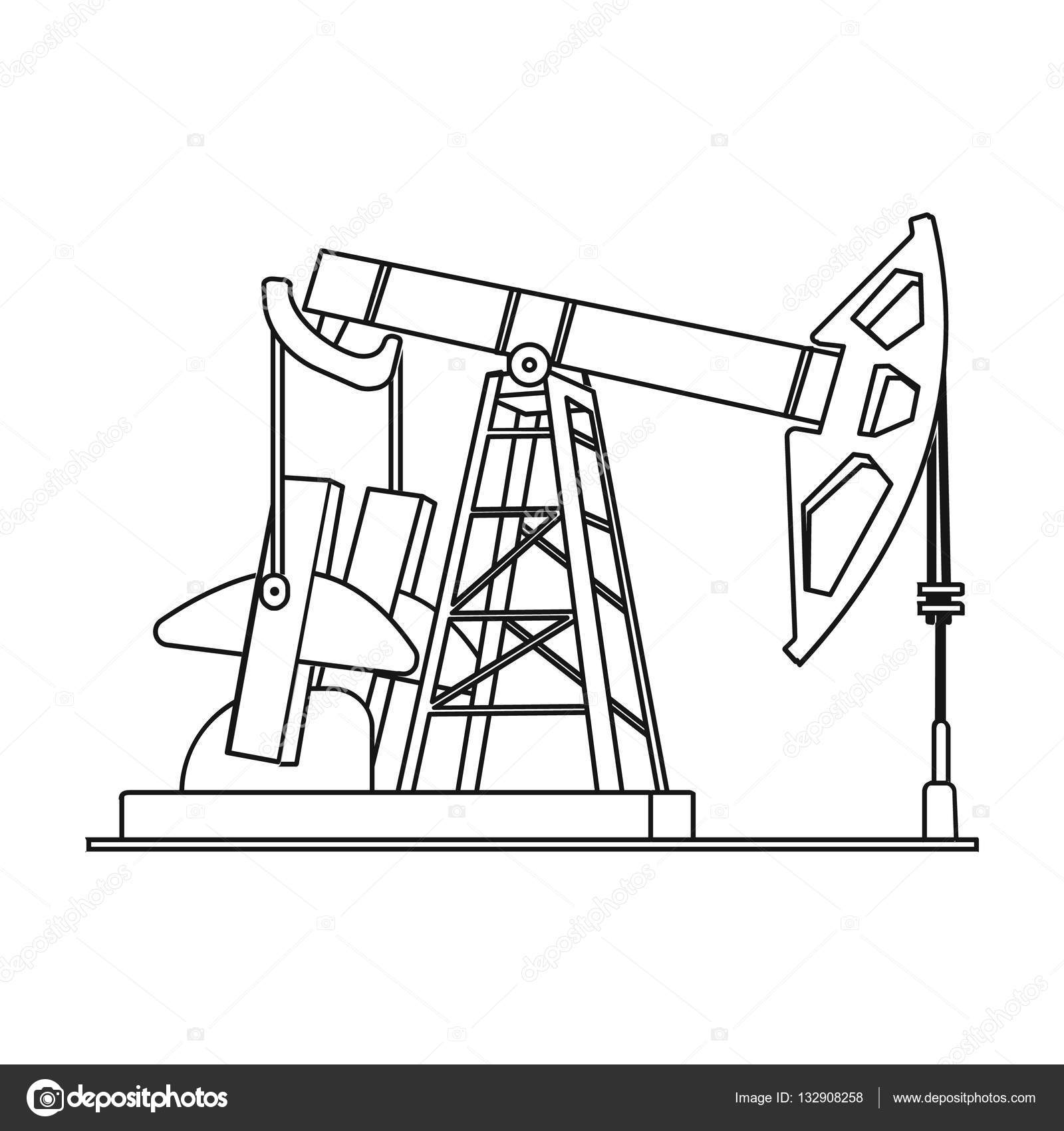 1600x1700 Oil Pumpjack Icon In Outline Style Isolated On White Background