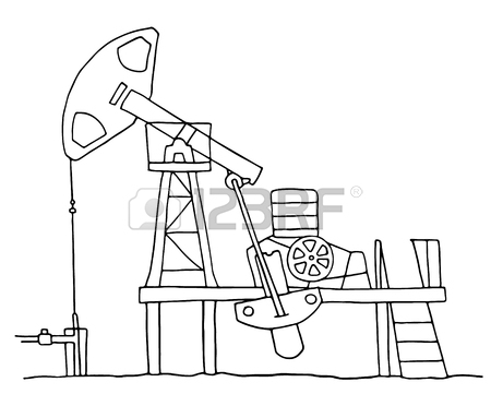 450x383 Cartoon Sketch Field Pumpjack. Colored Oil Well Illustration