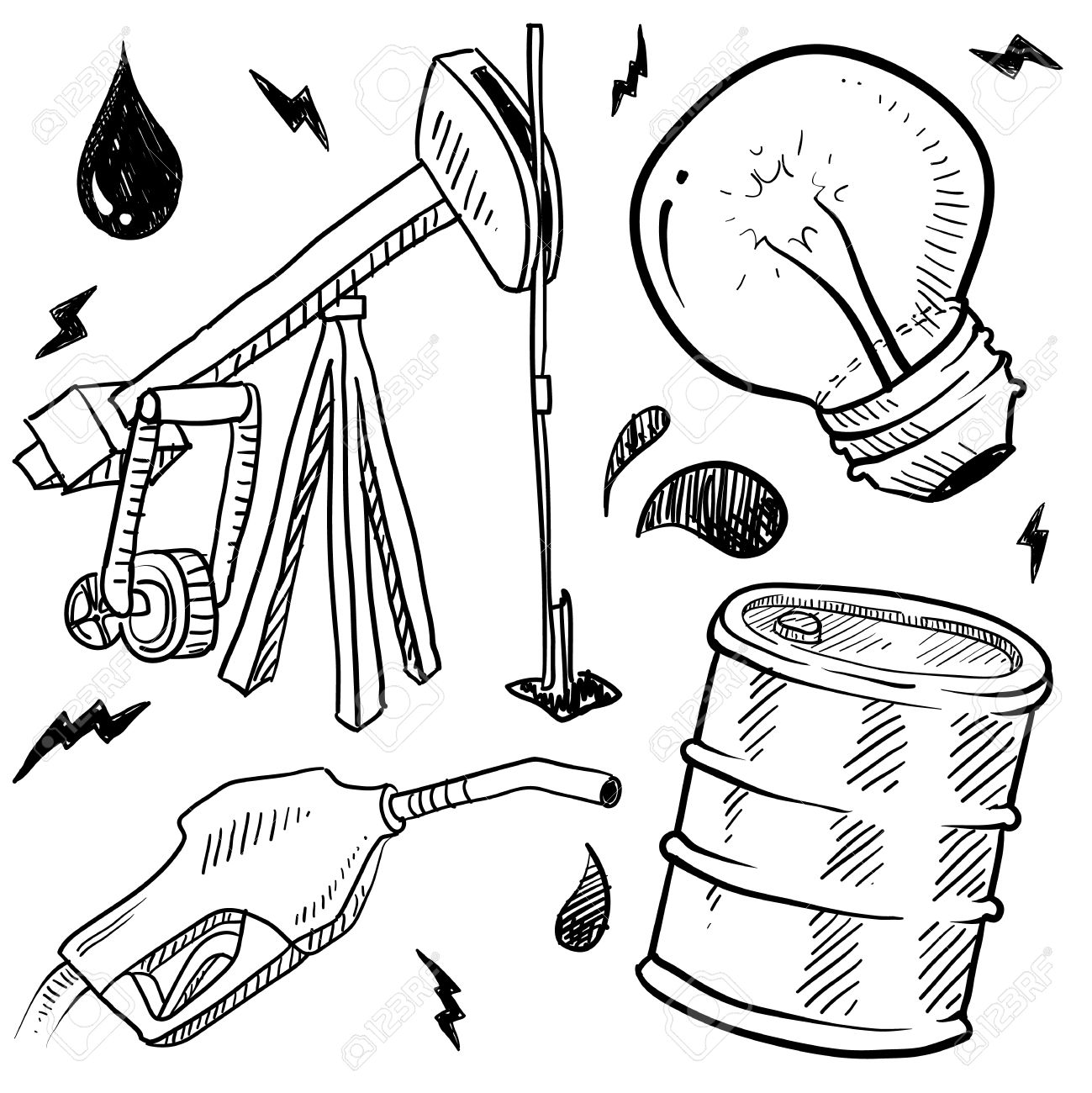 1299x1300 Doodle Style Oil And Gas Energy Sketch In Vector Format Set