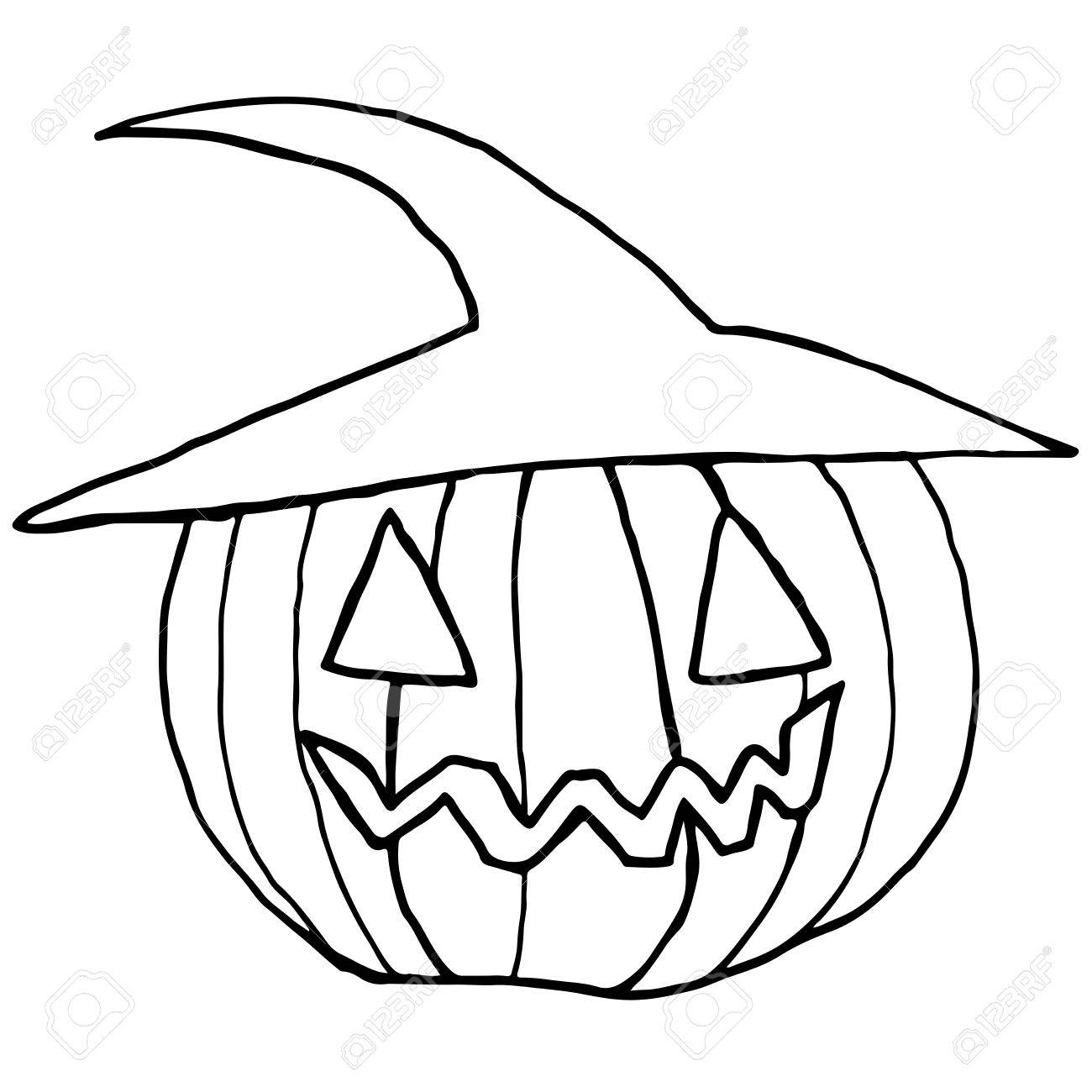 1300x1300 Black And White Cartoon, Funny Muzzle, Pumpkin In A Hat, Isolated